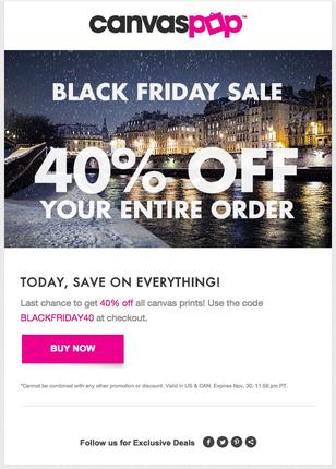 Canvas Pop gibt 40% auf alles am Black Friday.